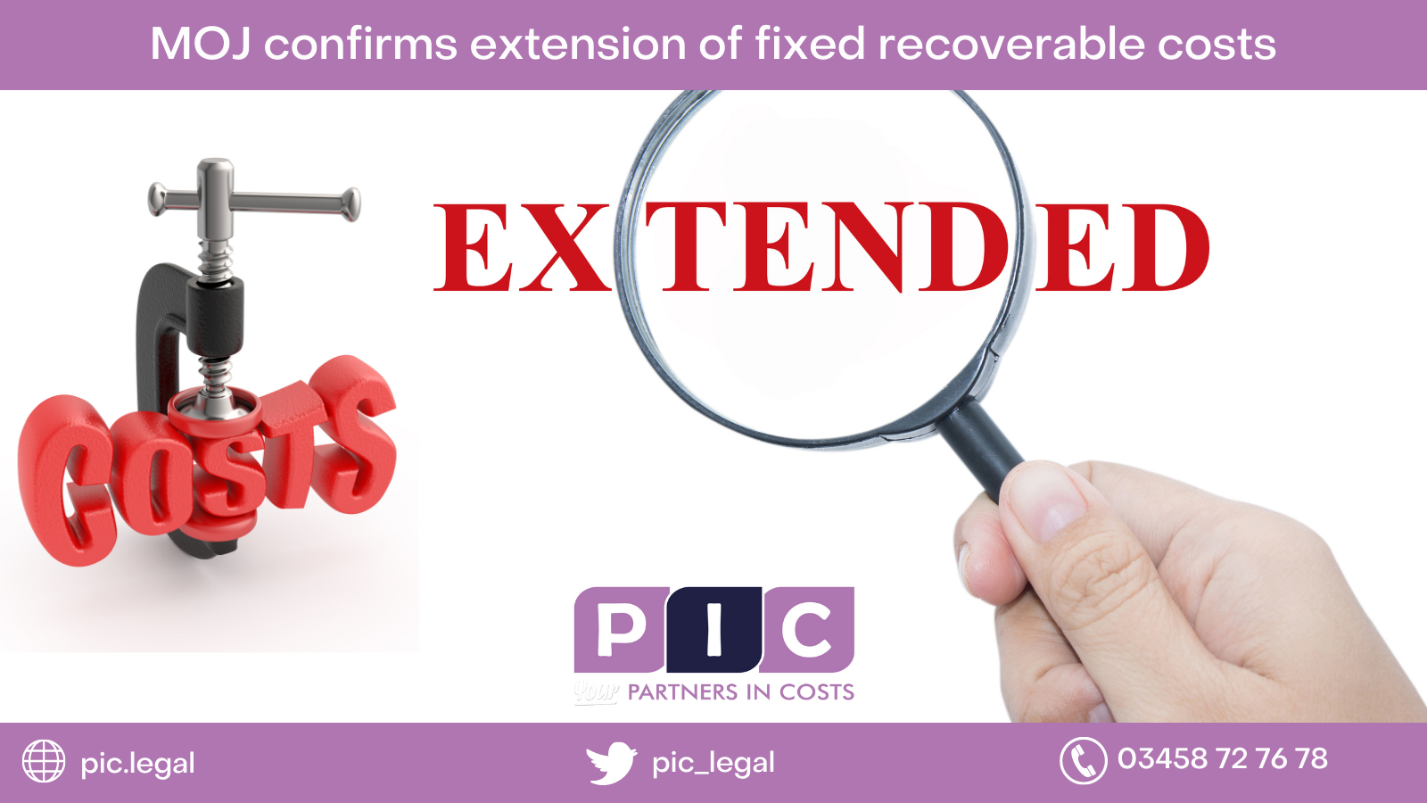 MoJ confirms extension of fixed recoverable costs